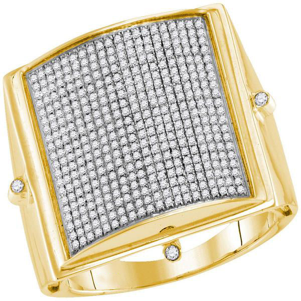 Men's 7/8 Ct Diamond Pave-set Square Dome Cluster Ring in 10K Yellow Gold