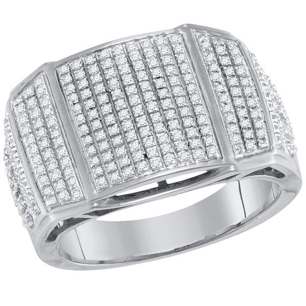 Men's 3/4 Ct Diamond Arched Cluster Ring in 10K White Gold
