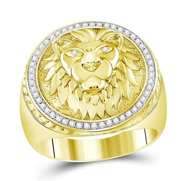 Men's 1/3 Ct Diamond Lion Head Mane Ring in 10K Yellow Gold