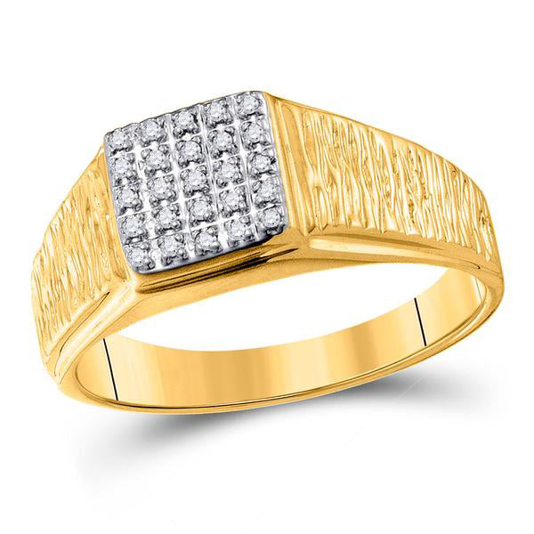 Men's 1/8 Ct Diamond Square Cluster Brushed Ring in 10K Yellow Gold