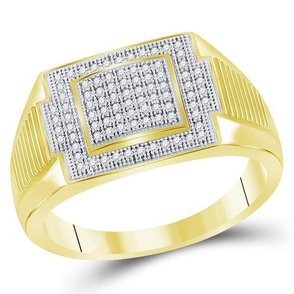 Men's 1/4 Ct Diamond Rectangle Cluster Ring in 10K Yellow Gold