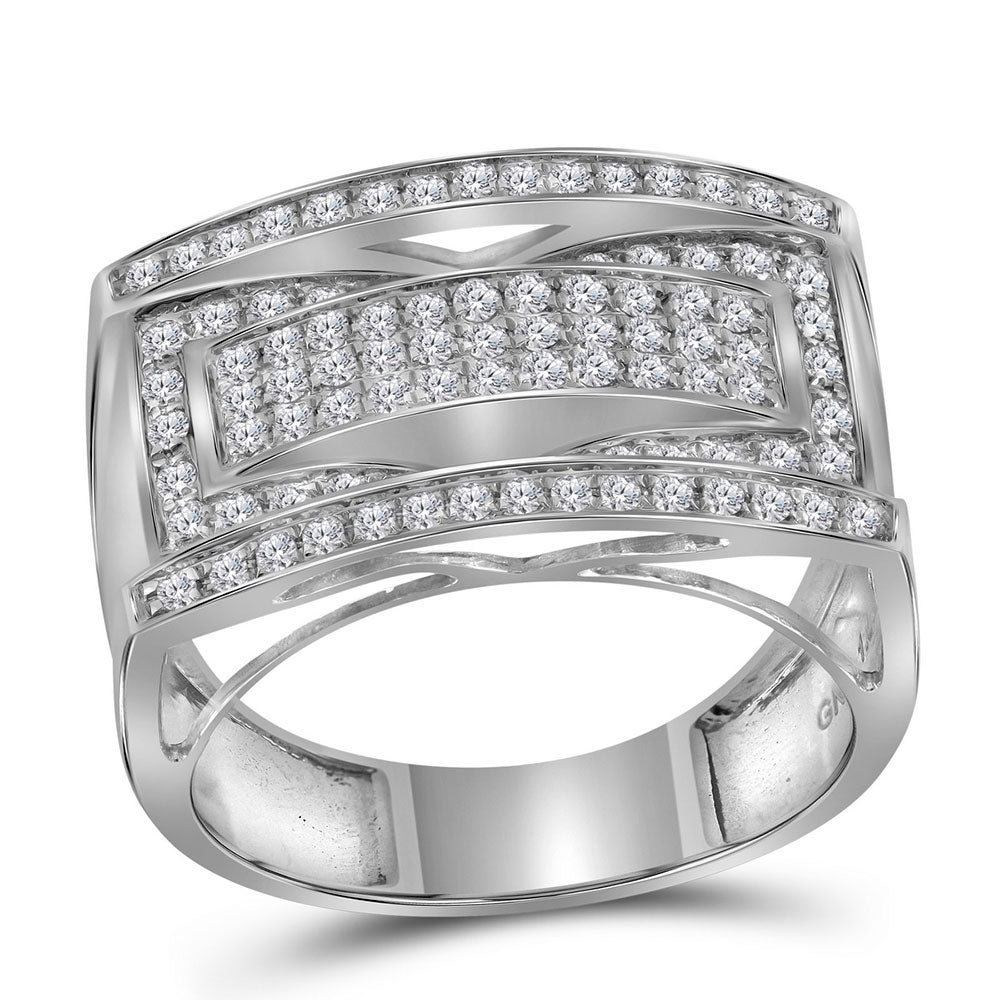 10K White Gold Mens Round Pave-set Diamond Rectangle Cluster Fashion Ring 1.00 Ct