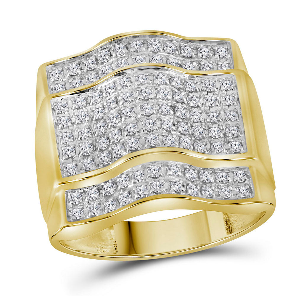10K Yellow Gold Mens Round Diamond Arched Square Cluster Ring 1.00 Ct