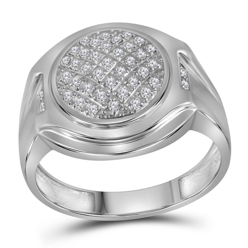 10K White Gold Mens Round Diamond Circle Cluster Fashion Ring 1/3 Ct