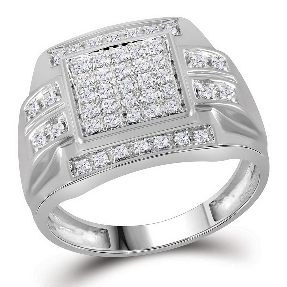 10K White Gold Mens Round Diamond Square Cluster Ring 1/3 Ct