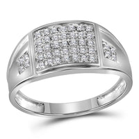 10K White Gold Mens Round Prong-set Diamond Square Cluster Ring 1/4 Ct