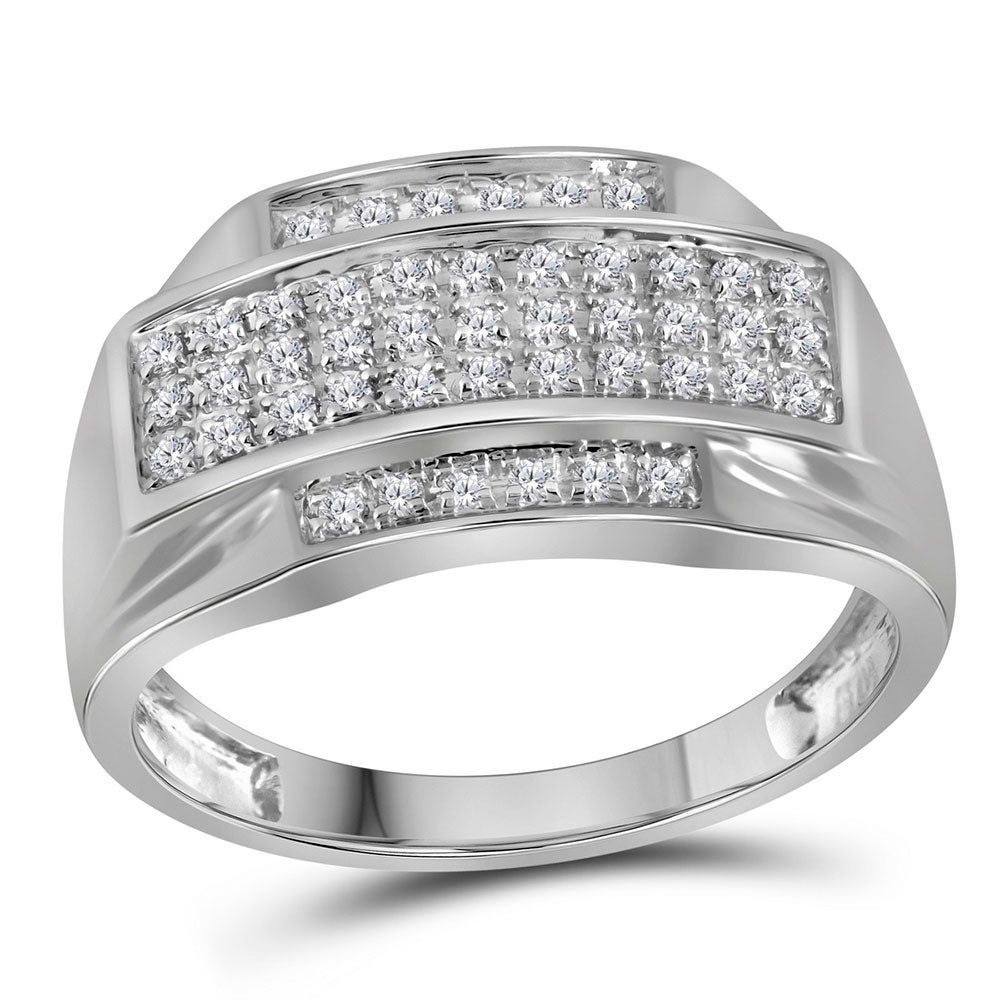 10K White Gold Mens Round Pave-set Diamond Rectangle Cluster Ring 1/3 Ct