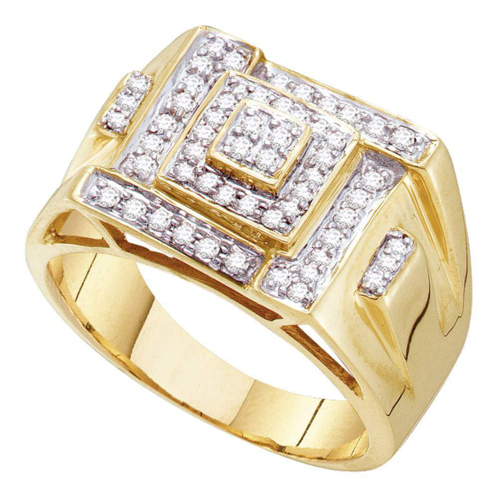 10K Yellow Gold Mens Round Diamond Square Cluster Ring 1/2 Ct
