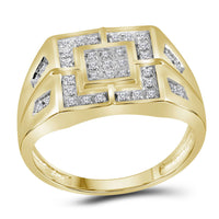 10K Yellow Gold Mens Round Diamond Square Cluster Ring 1/4 Ct