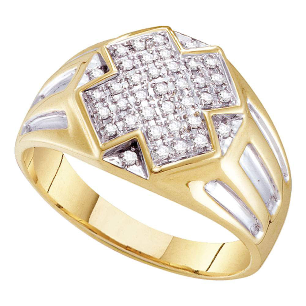 10K Yellow Two-tone Gold Mens Round Diamond Cross Cluster Ring 1/4 Ct