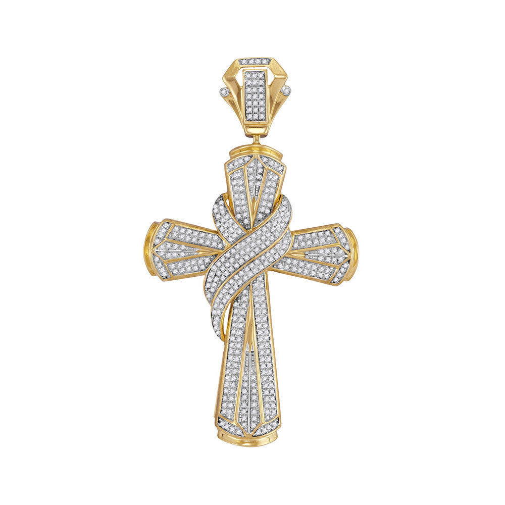 10K Yellow Gold Men's Diamond Bound Cross Charm Pendant 1.00 Ct