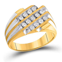 Men's 1/2 Ct Diamond 3-Row Cluster Ring in 10K Two-tone Yellow Gold
