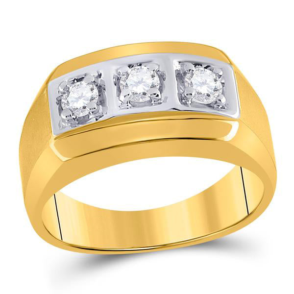 Men's 1/2 Ct Diamond 3-stone Fashion Band Ring in 14K Yellow Gold