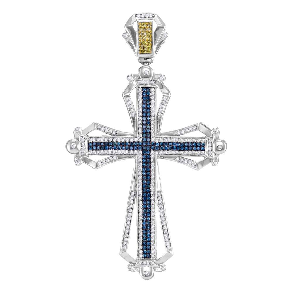 10K White Gold Men's Blue & Yellow Color Enhanced Diamond Cross Charm Pendant 1-1/2 Ct
