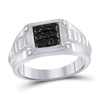 Men's 1/2 Ct Diamond Black Color Square Cluster Ribbed Shank Ring in 10K White Gold