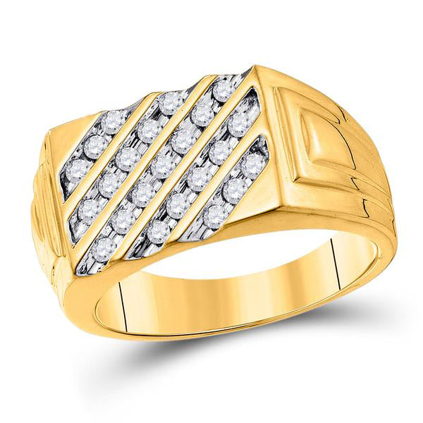 Men's 1/2 Ct Diamond Channel-set Diagonal Stripe Band Ring in 10K Yellow Gold