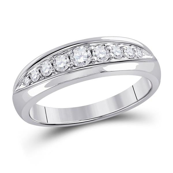 Men's 1/2 Ct Diamond Single Row Band Ring in 14K White Gold