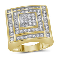 10K Yellow Gold Mens Round Diamond Concentric Square Cluster Ring 1-3/4 Ct