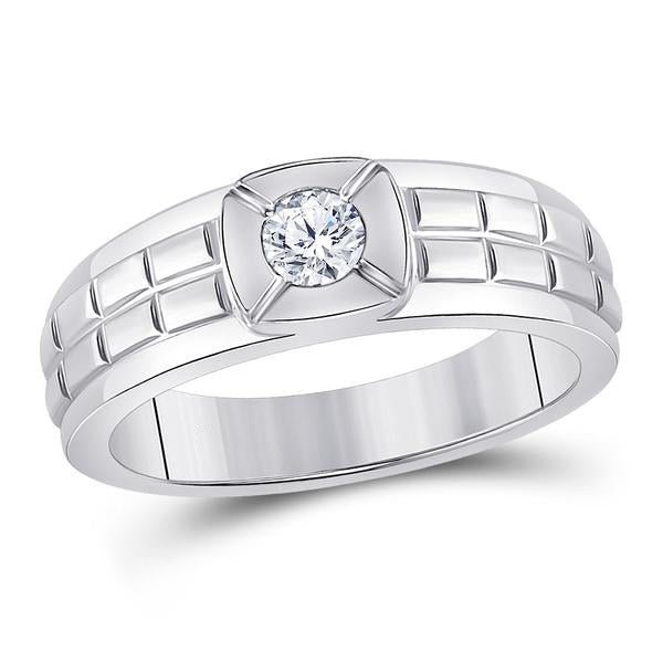 Men's 1/2 Ct Diamond Solitaire Grid Fashion Ring in 14K White Gold