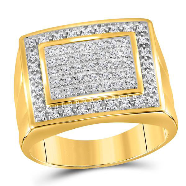 Men's 1/2 Ct Diamond Square Frame Cluster Ring in 10K Yellow Gold