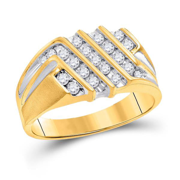 Men's 1/2 Ct Diamond Stripe Cluster Band Ring in 10K Yellow Gold