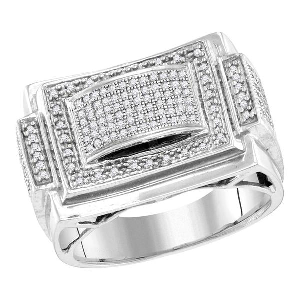 Men's 1/2 Ct Diamond Domed Rectangle Frame Cluster Ring in 10K White Gold