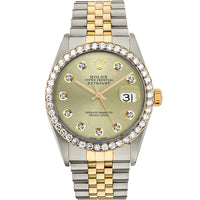 Diamond Rolex Two-Tone 18K Gold Datejust 36 Gold Iced Watch