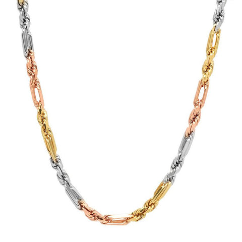 14K Gold Men's Solid Tri-Color Figarope Chain