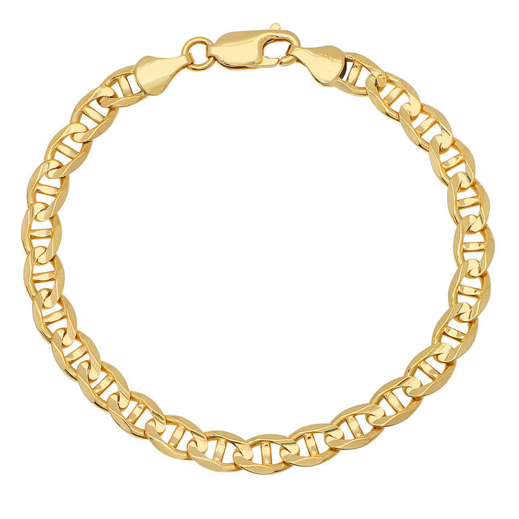 14K Yellow Gold Men's Solid Mariner Bracelet
