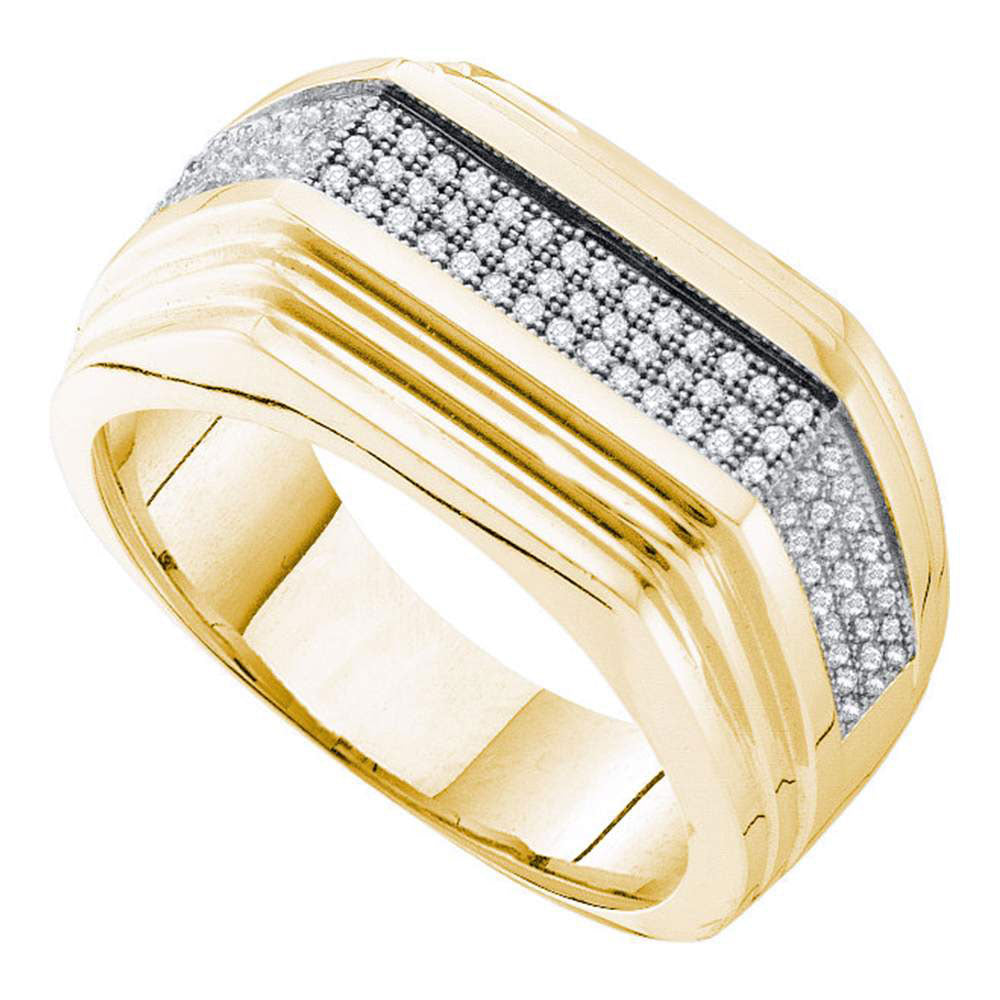 10K Yellow Gold Mens Round Pave-set Diamond Ridged Flat Band Ring 1/3 Ct