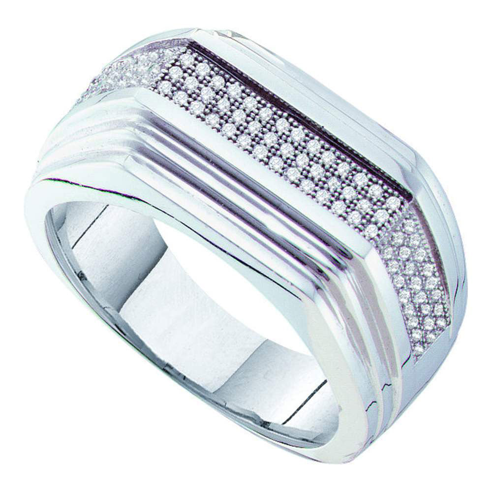 10K White Gold Mens Round Pave-set Diamond Ridged Flat Band Ring 1/3 Ct