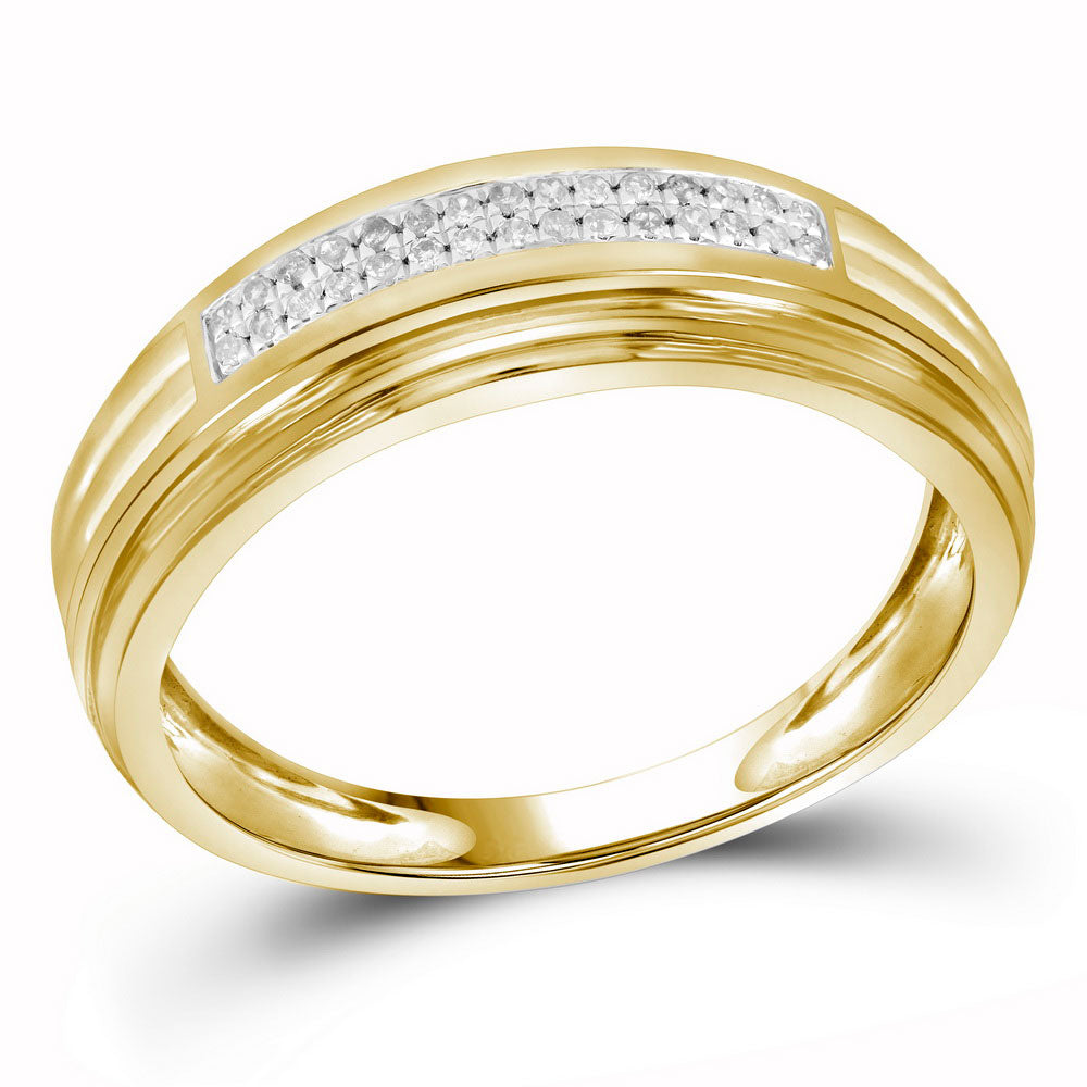 10K Yellow Two-tone Gold Mens Round Diamond Double Row Wedding Band 1/10 Ct