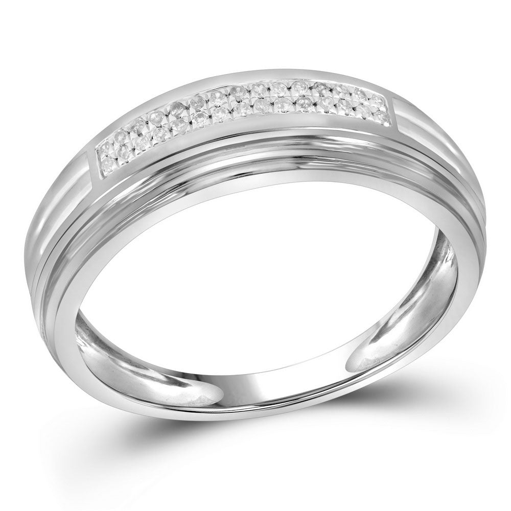 10K Two-tone White Gold Mens Round Diamond Double Row Wedding Band 1/10 Ct