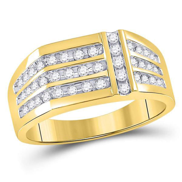 Men's 1/2 Ct Diamond Triple Row Intersecting Fashion Ring in 14K Yellow Gold