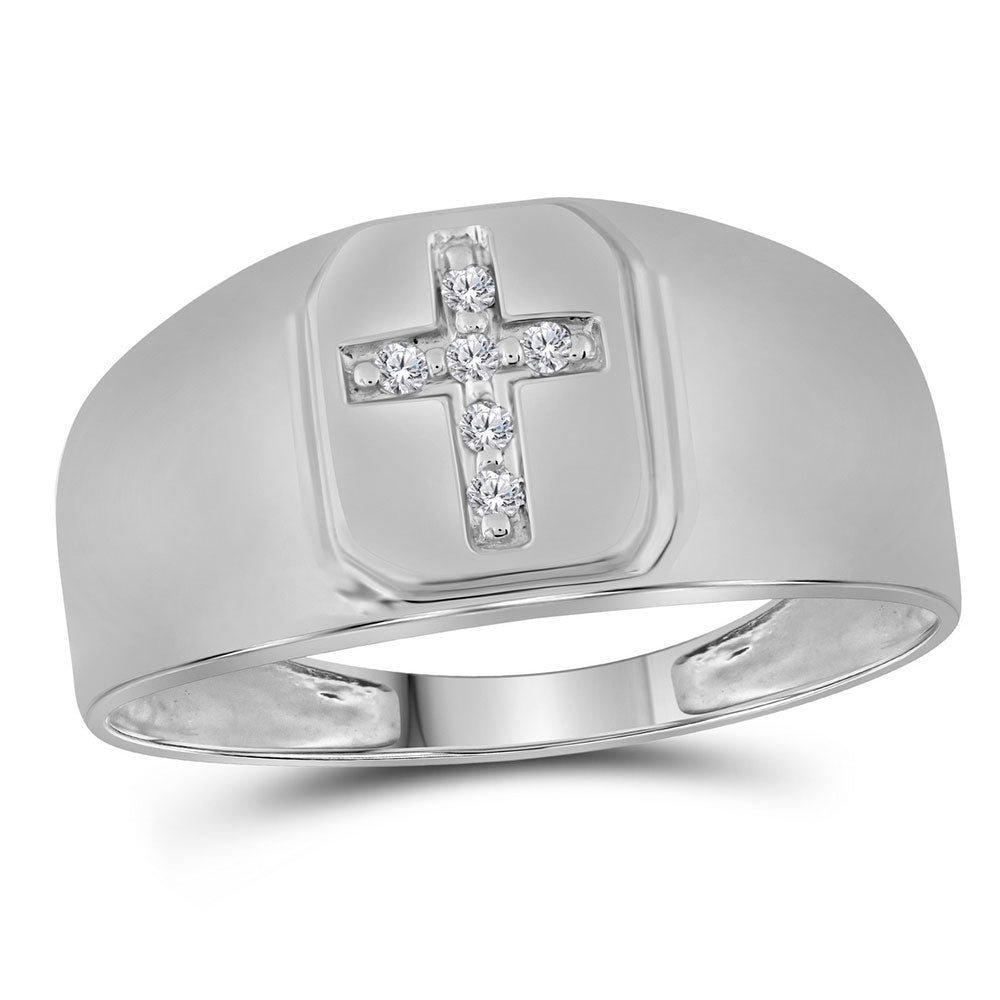 10K White Gold Mens Round Diamond Brushed Matte Cross Band Ring 1/20 Ct