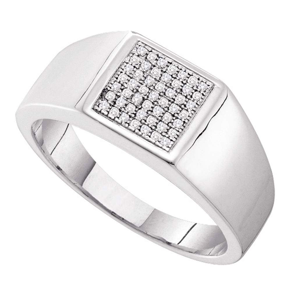 10K White Gold Mens Round Diamond Square Cluster Ring 1/6 Ct