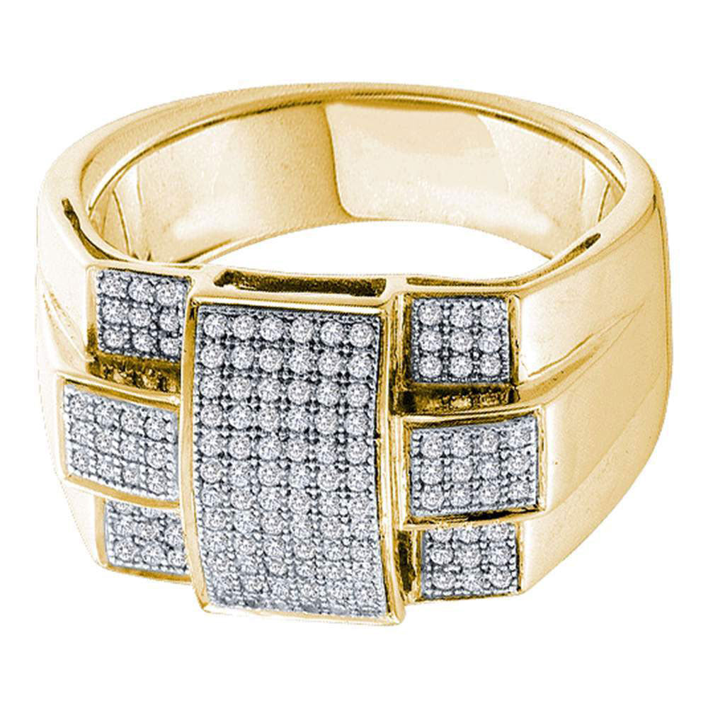 10K Yellow Gold Mens Round Diamond Square Cross Cluster Ring 1/2 Ct