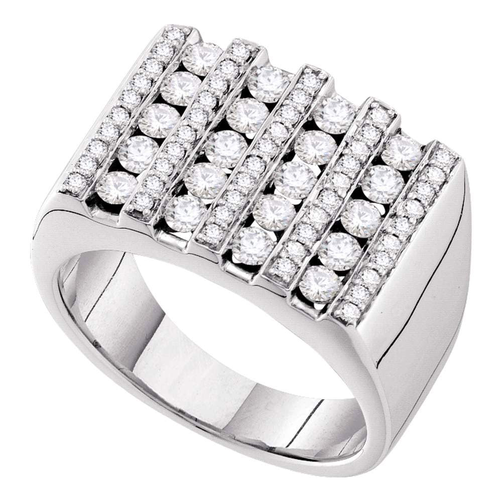 14K White Gold Mens Round Channel-set Diamond Square Stripe Cluster Ring 1-1/2 Ct