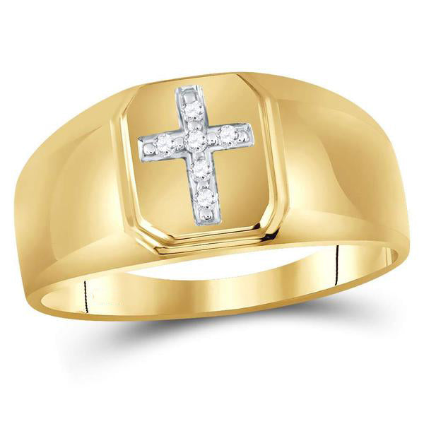 Men's 1/20 Ct Diamond Christian Cross Brushed Band Ring in 10K Yellow Gold