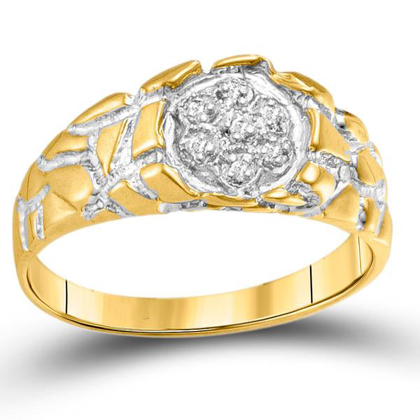 Men's 1/20 Ct Diamond Cluster Nugget Band Ring in 10K Yellow Gold