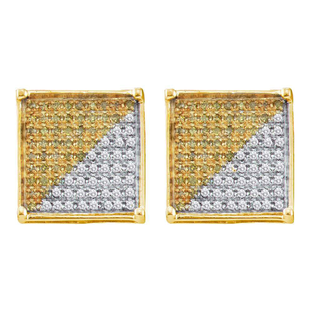 10K Yellow Gold Men's Round Yellow Color Enhanced Diamond Square Cluster Earrings 1/6 Ct