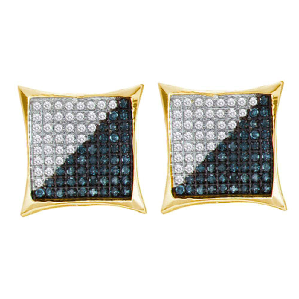 10K Yellow Gold Men's Round Blue Color Enhanced Diamond Square Kite Cluster Earrings 1/3 Ct