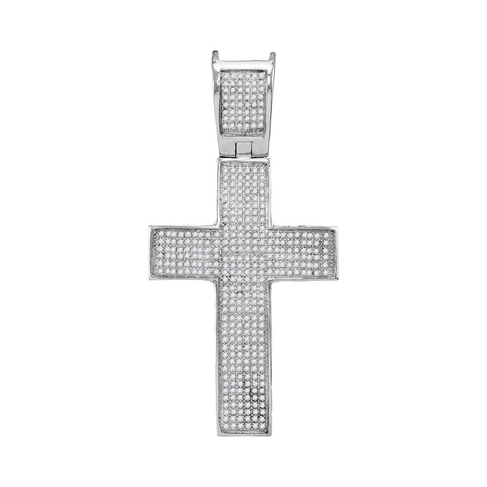 10K White Gold Men's Diamond Symmetrical Christian Cross Charm Pendant 1.00 Ct