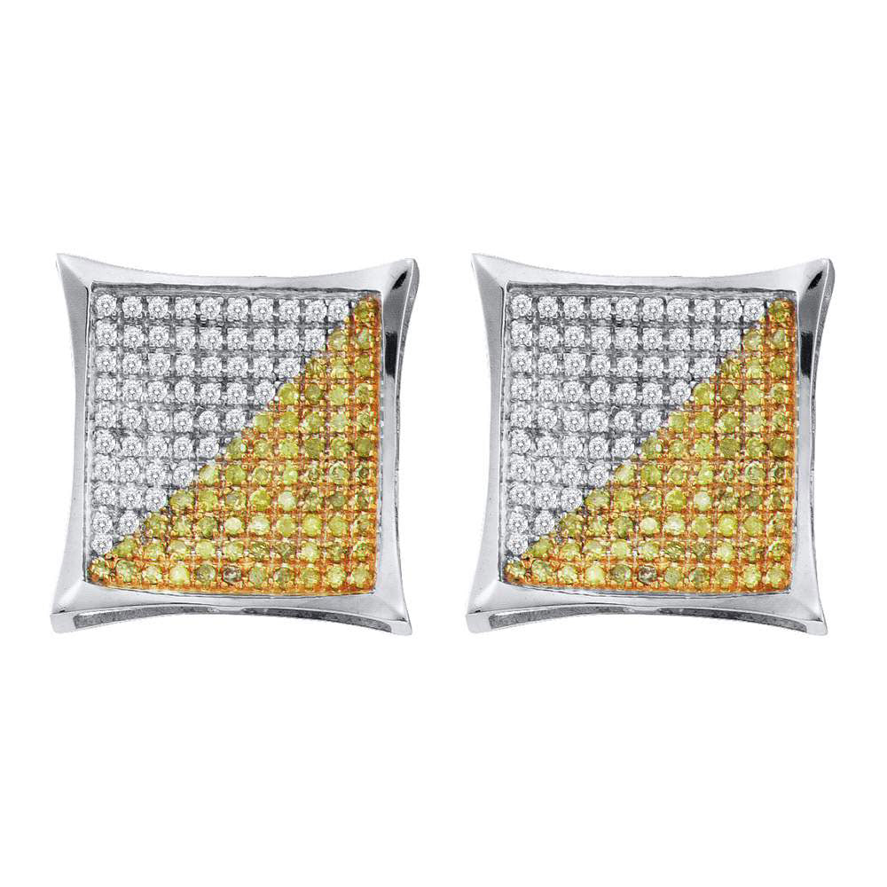 10K White Gold Men's Round Yellow Color Enhanced Diamond Square Cluster Earrings 1/4 Ct