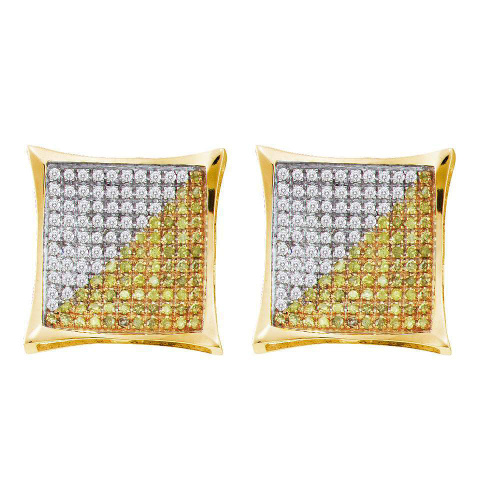 10K Yellow Gold Men's Round Yellow Color Enhanced Diamond Square Kite Cluster Screwback Earrings 1/2 Ct