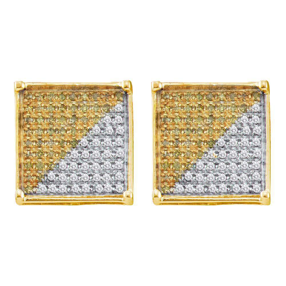 10K Yellow Gold Men's Round Yellow Color Enhanced Diamond Square Cjluster Earrings 7/8 Ct