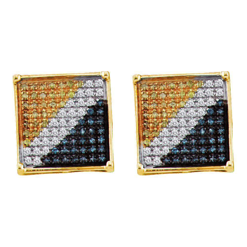 10K Yellow Gold Men's Round Blue Yellow Color Enhanced Diamond Square Cluster Earrings 1/20 Ct