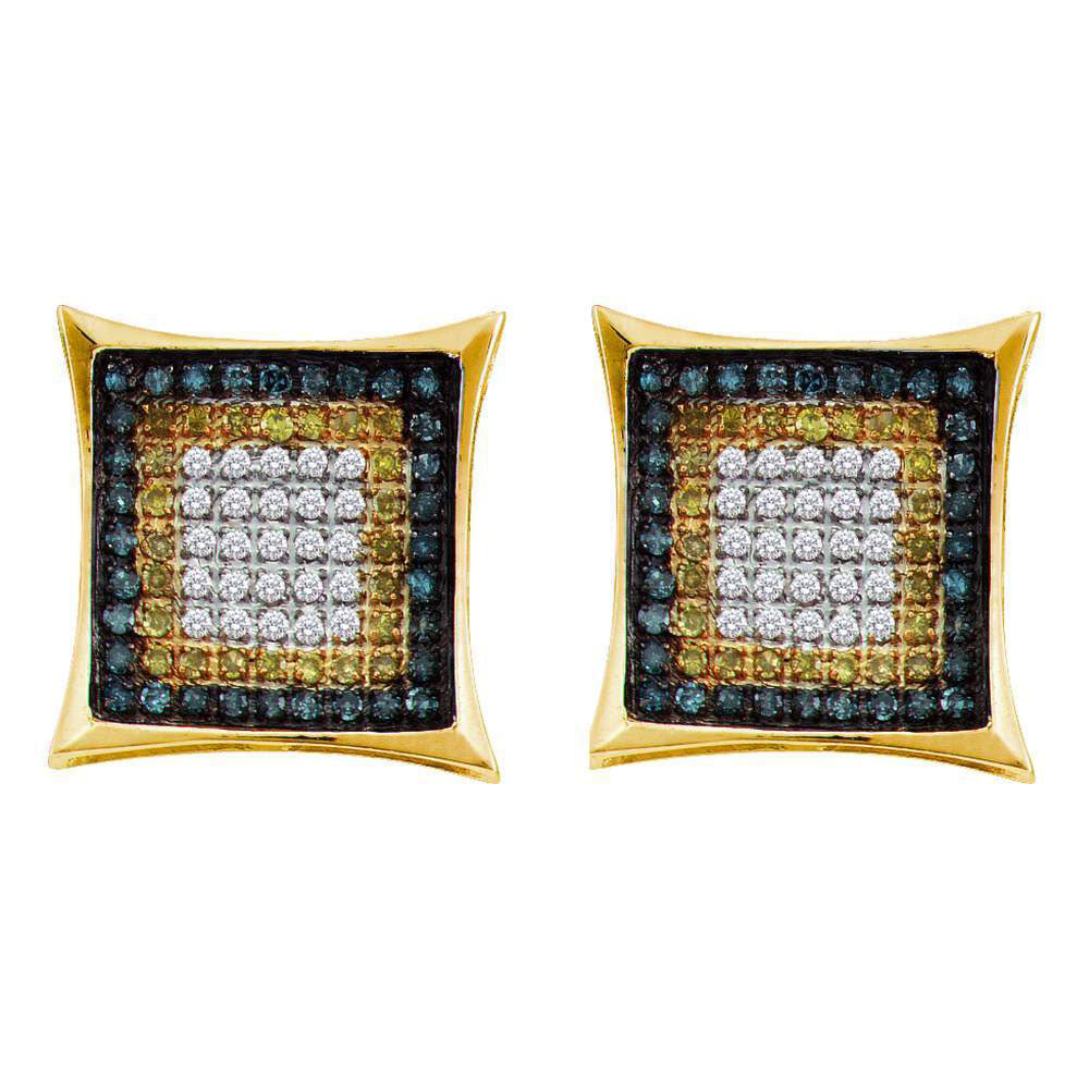 10K Yellow Gold Men's Yellow Blue Color Enhanced Diamond Square Cluster Earrings 1/3 Ct