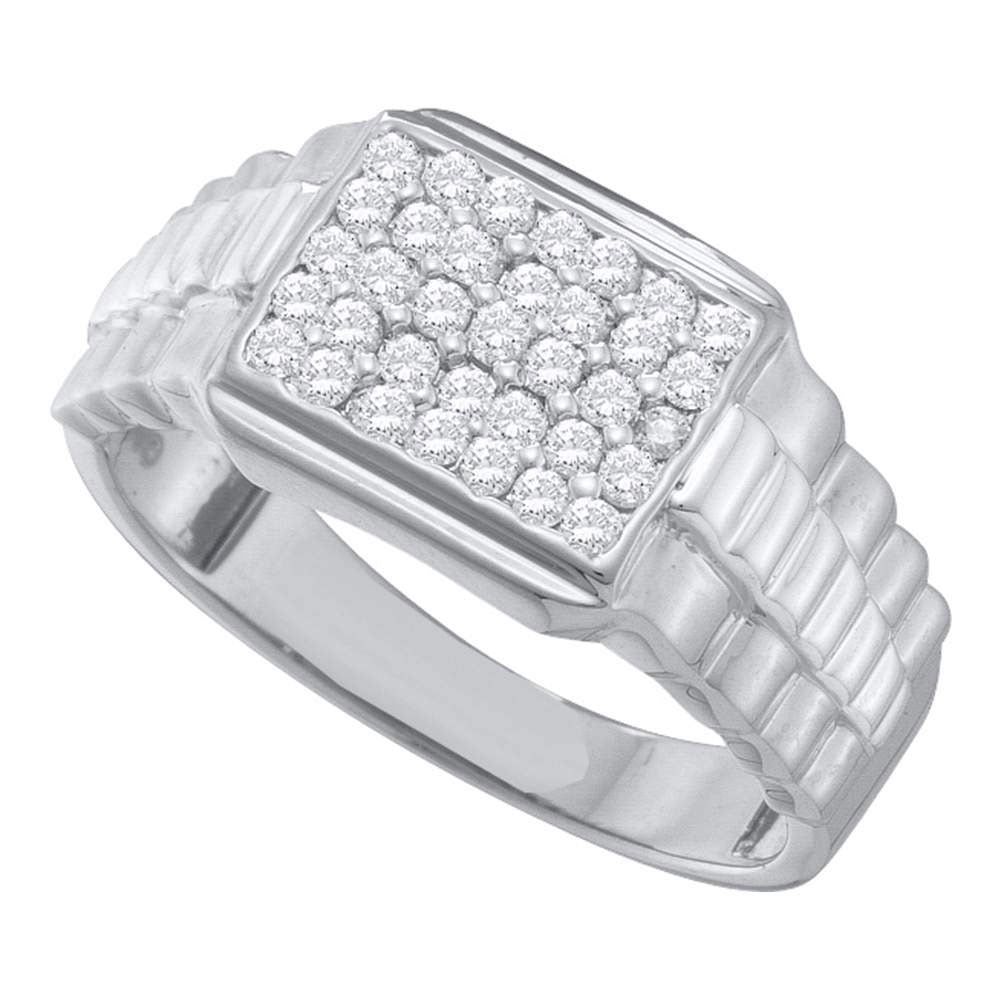 10K White Gold Mens Round Diamond Rectangle Cluster Ribbed Ring 1/2 Ct