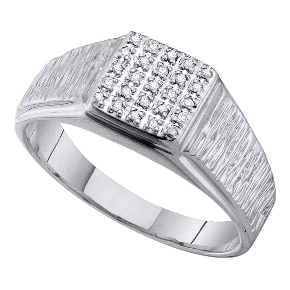 10K White Gold Mens Round Diamond Square Cluster Brushed Ring 1/8 Ct